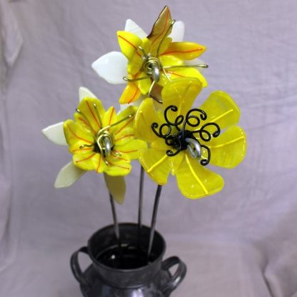 Yellow fused glass flowers