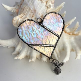 Clear textured stained glass heart