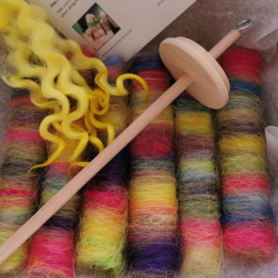 learn to spin kit with wool and drop spindle