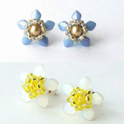 Daffodil or Forget-me-nit beaded Spring flower stud earrinfs