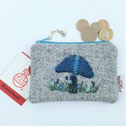 Hand Embroidered Harris Tweed Coin Purse