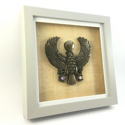 Egyptian inspired Horus relief sculpture in cold-cast bronze mounted in a box frame
