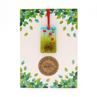 Mothers Day card with gift - poppies and bee light catcher