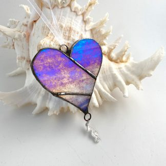 Blue iridised stained glass heart