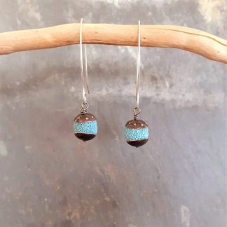 Acorn style drop earrings with turquoise colour Lava Rock beads and recycled copper