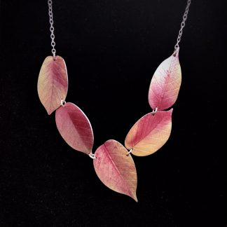Asymmetric Pink Cherry leaf necklace by Photofinish jewellery.