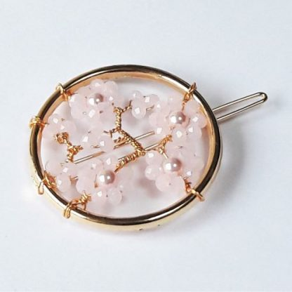 Cherry Blossom pink crystal and pearl round hair grip