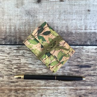 Cork pocket notebook with leaves