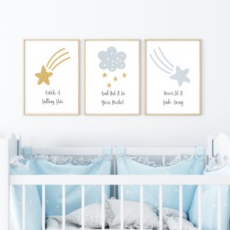 catch a falling star set of three nursery prints