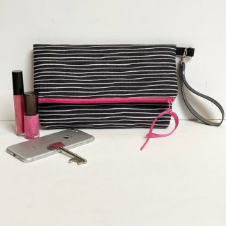 Charcoal grey stripy fold over clutch