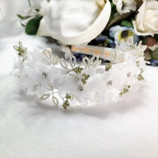 CherylsJewellery - White organza ribbon floral crown wedding headband (9)