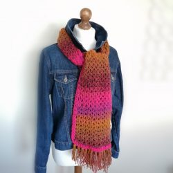 Crocheted scarf wrap in pinks