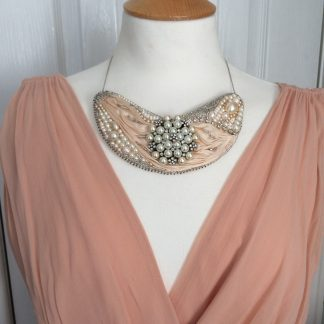 Sterling silver silk and pearl statement necklace