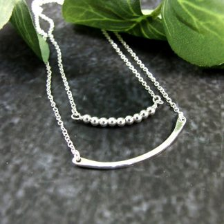 Layered-Silver-Necklace-Two-Chains-Bead-and-Bar