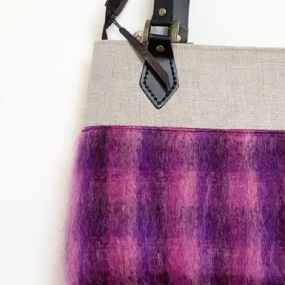 Fluffy Purple and Pink Mohair Handbag With Linen