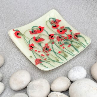 Fused glass poppy dish small