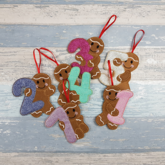Gingerbread Birthday Numbers with Party Hats