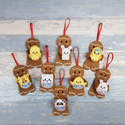Gingerbread Men Holding a Easter Bunnies Chicks and Animals in Egg