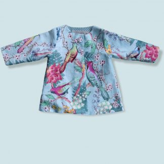 Girl's lightweight jacket made in a vintage style print featuring exotic birds, flowers and leaves