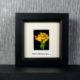 """Vase of tulips & narcissi, framed photo gift with optional """"Happy Mother's Day"""" or other message, by Pictures2Mixtures"""