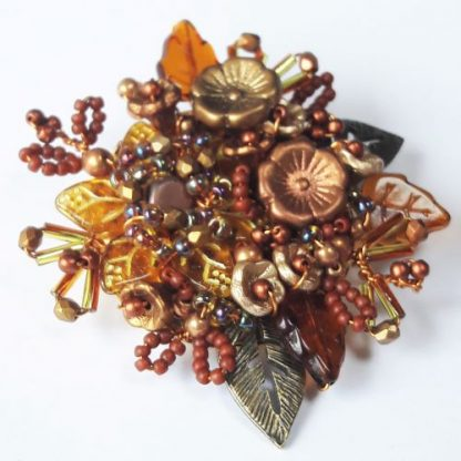 Rust gold beaded flower leaf brooch pin gift
