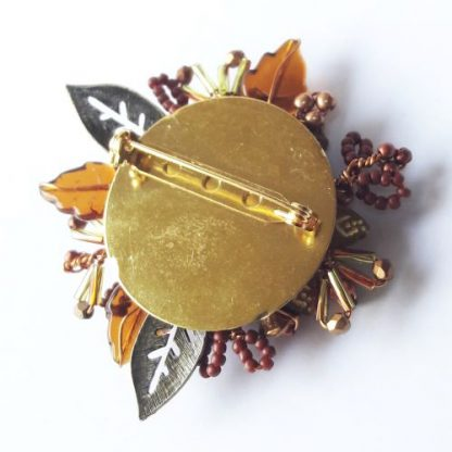 Brown gold beaded Mother's Day gift brooch pin
