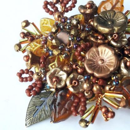 Gold rust glass bead floral gift brooch pin