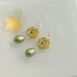 Green and gold vintage style drop earrings