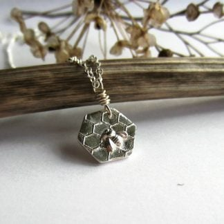 Cute little handmade, fine silver, hexagonal honey bumble bee and honeycomb necklace, handcrafted by The Tiny Tree Frog Jewellery - 1