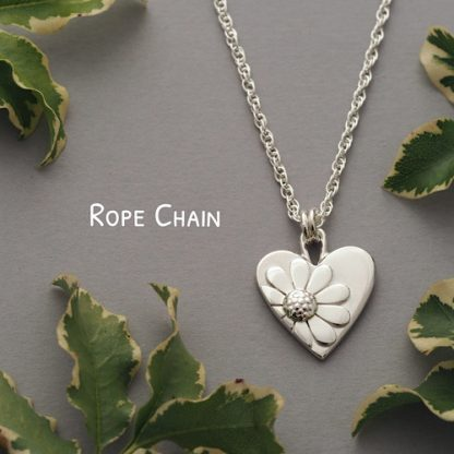 Handmade Sterling Silver Daisy Heart Pendant Necklace - Made By Fee