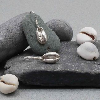 Cowrie Shell drop silver earrings