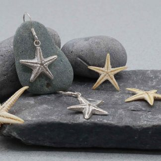 fine silver starfish drop earrings