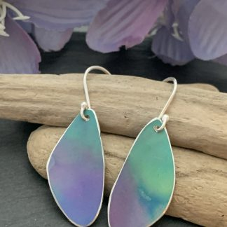 turquoise and purple wing drop earrings