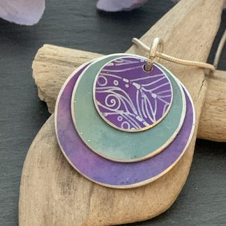 triple layer purple and teal pendant