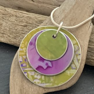 lime green and pink pendant