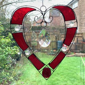 Stained glass wire heart suncatcher