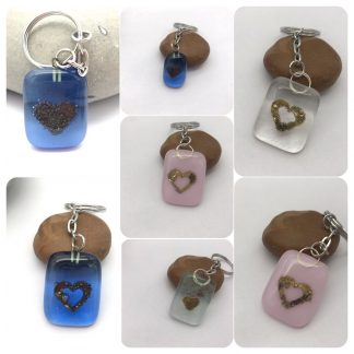 Fused glass and brass heart keyring