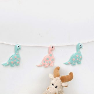 Pink and mint dinosaur bunting