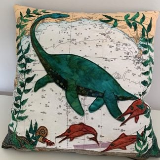 Jurassic Coast cushion by Hannah Wisdom Textiles