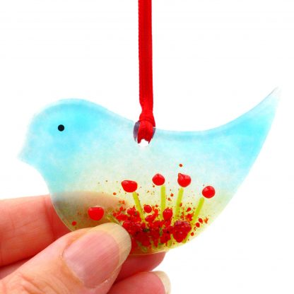 Fused glass bird light catcher with red poppies