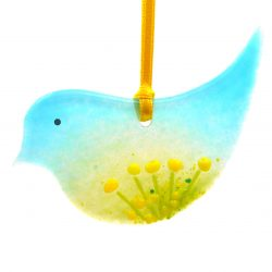 Fused glass bird light catcher with yellow flowers