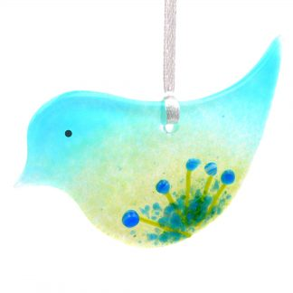 Fused glass bird light catcher with blue flowers
