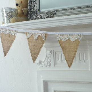 Lace and pearl hessian bunting MollyG Designs