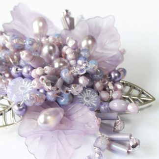 Lilac flower silver leafbeaded brooch pin