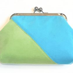 Lime and Turquoise Corduroy Diagonal Clip Frame Purse