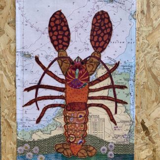 Lobster at Padstow tea towel by Hannah Wisdom Textiles