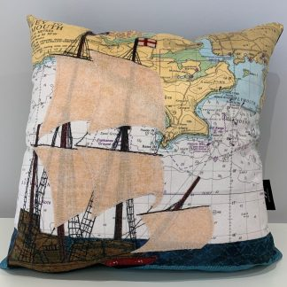 Mayflower at Plymouth cushion by Hannah Wisdom Textiles