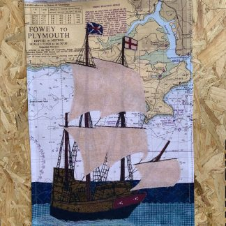 Mayflower at Plymouth tea towel by Hannah Wisdom Textiles