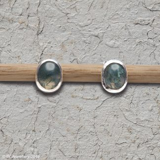 Moss Agate Cabochon Ear Studs