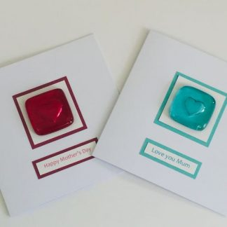 Fused Glass Heart Pocket Hug Mother's Day Card